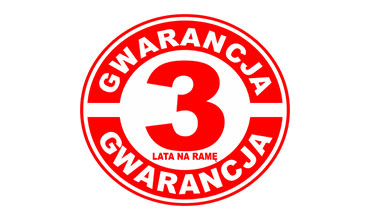 3 lata gwarancji na ramę